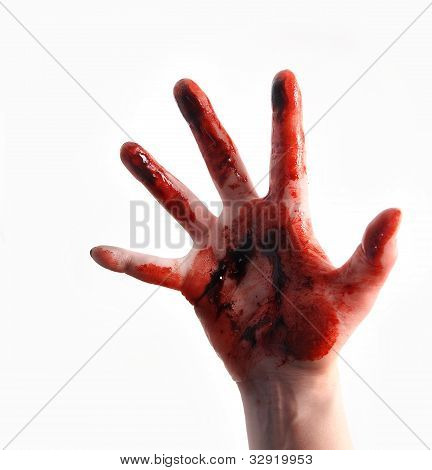 Red Bloody Scary Hand Reaching on White