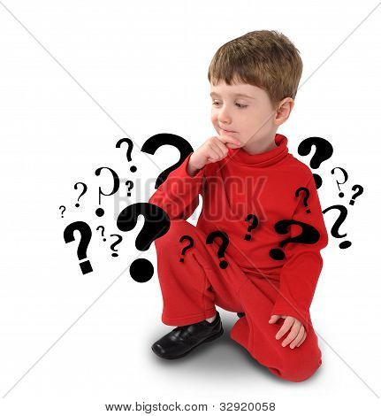 Young Boy with Thinking about Question