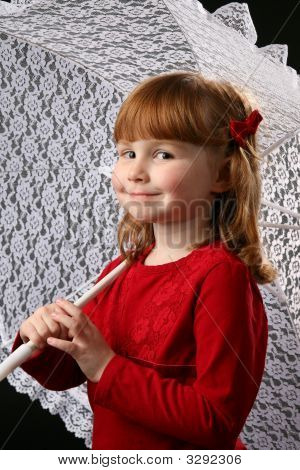 Cute Girl With A Lace Parasol