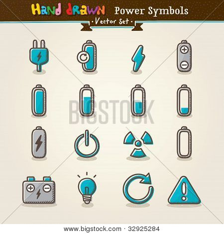 Vector Hand Draw Power Symbols Icon Set