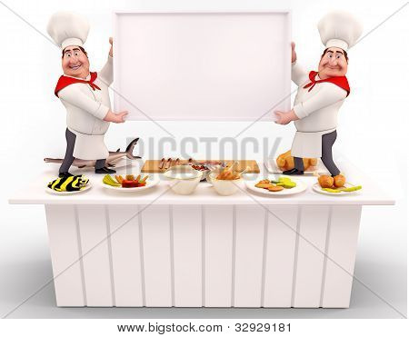 Chef holding white sign on the tabl