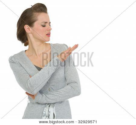 Arrogant Modern Business Woman Looking On Nails