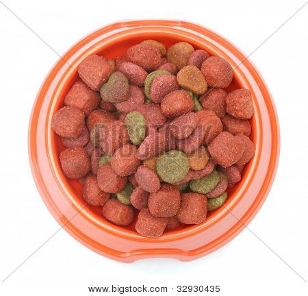 dry dog food in orange bowl  isolated on white
