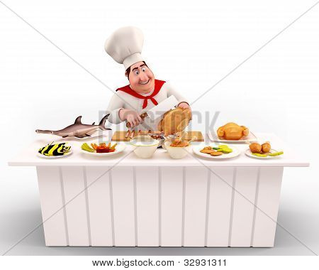 Chef cooking nonveg