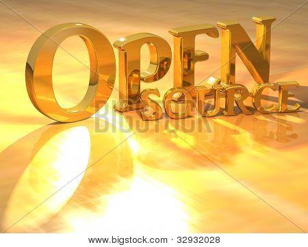 3D Open Source Gold Text
