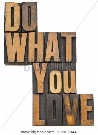 do what you love - motivation  concept - isolated text in vintage letterpress wood type