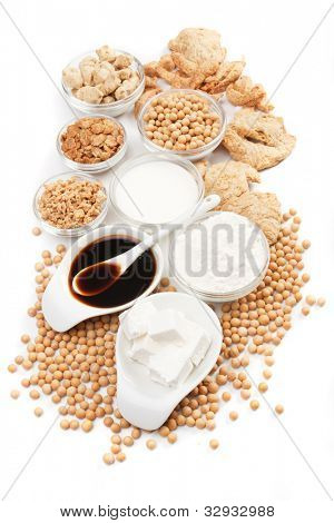 Tofu, soybean and other soy products isolated on white background