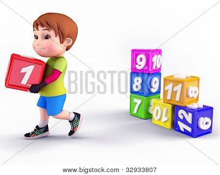 Smiling cute boy with blocks