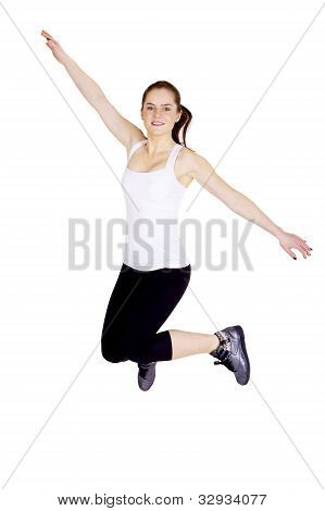 jumping woman isolated