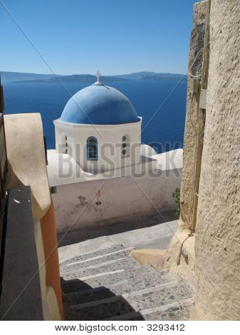 Blue Church Cupola On Santorini Island
