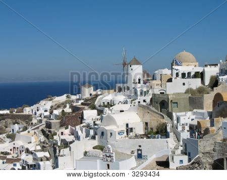 Colorful Vista - Land And Sea On Santorini
