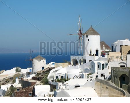 Windmills And The Deep Blue Sea - Santorini