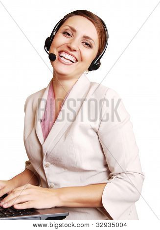 Happy Smiling Girl Call Center Operator