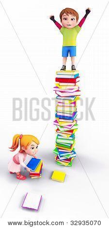 Crianças brincando com os livros