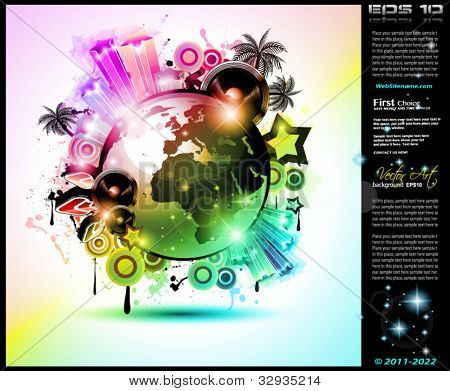 Music Club background for disco dance international event with a lot of design elements. Ideal for posters, flyers and advertising panels