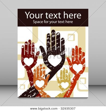 Grunge hands leaflet or flier design.