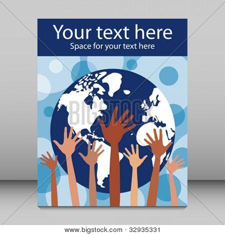 People of the world leaflet or flier design.
