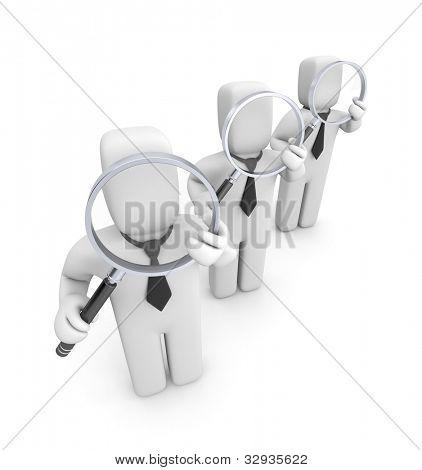 Grupo de empresarios con lupas. Auditoría. Imagen contiene el trazado de recorte