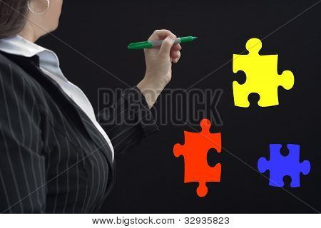 Puzzle Pieces Businesswoman
