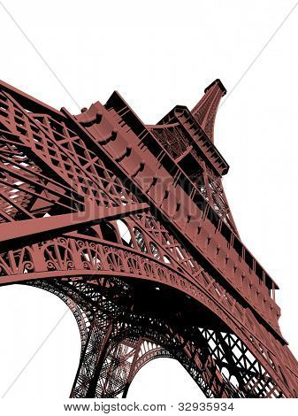 3d illustration of eiffel tower in paris france