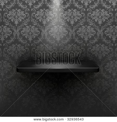 Empty shelf, black luxury bitmap copy