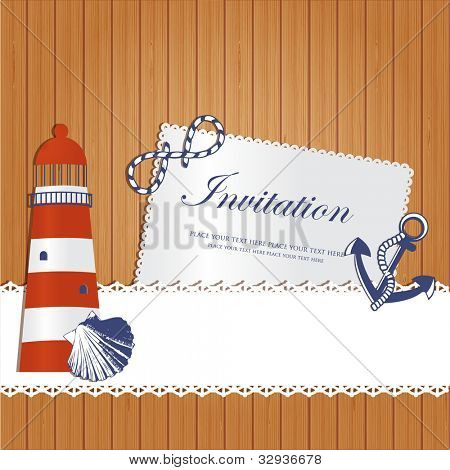 Vintage marine background with lighthouse, anchor shell and rope on wooden wall.