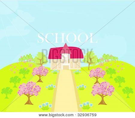 illustration of country school house