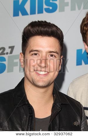 "LOS ANGELES - MAY 12:  Logan Henderson. arrives at the ""Wango Tango"" Concert at The Home Depot Center on May 12, 2012 in Carson, CA"