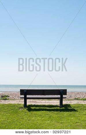 Empty Bench Facing Sea
