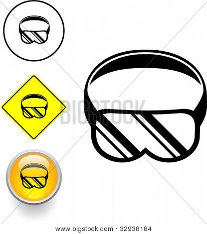 scuba diving or eye protection goggles symbol sign and button