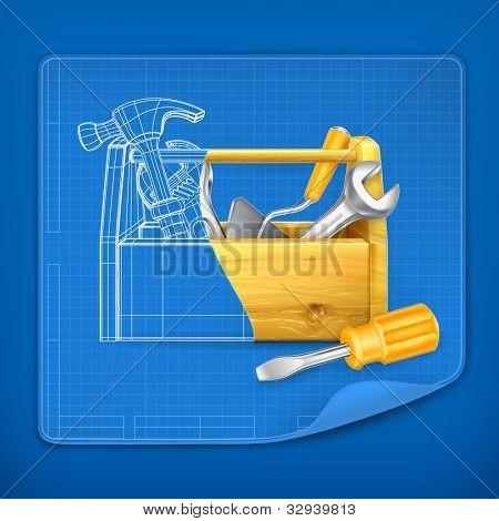 Tool box blue print, vector