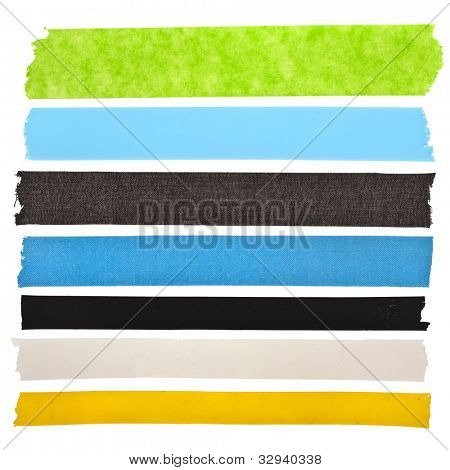 collection of colorful  strips adhesive insulating tape or different colored stickers, close up ,  isolated on white background