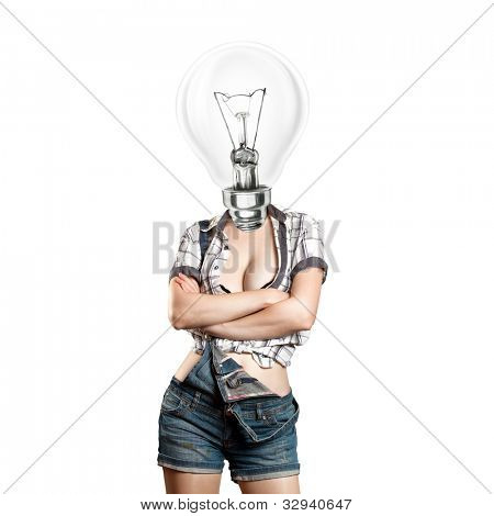 Idea concept, lamp head woman have got an idea