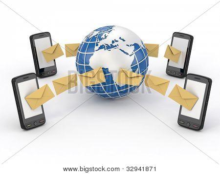 SMS-Nachrichten, Handy und Erde. SMS-voting. 3D