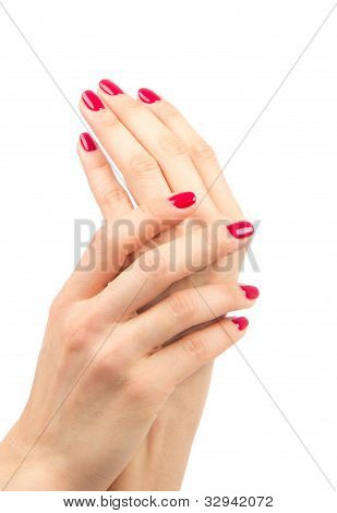 Female Hands Red Manicure Shellac Concept
