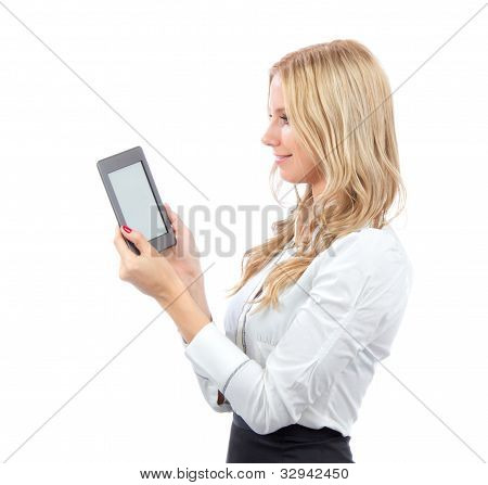 Woman With New Wireless Reading Digital Book Kindle