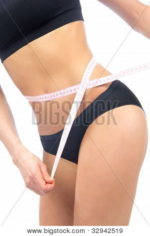 Woman Measuring Her Waist Metric Tape Measure