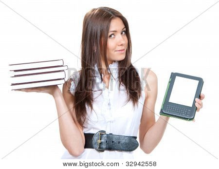 Woman Compare Books And  Digital Ebook  Reader