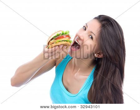 Woman With Tasty Fast Food Unhealthy Burger Or Hamburger