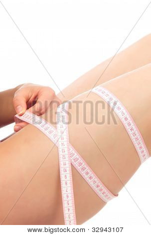 Hip, Legs And Tape Measure In Hand Cellulite