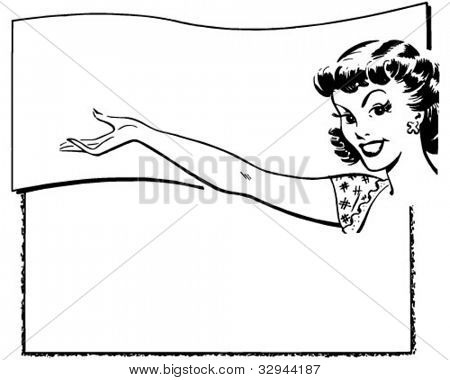 Presentation Girl - Ad Frame - Retro Clipart Illustration