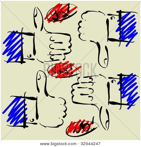art sketching set of vector hands  symbols