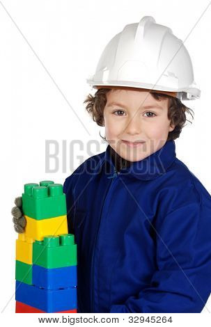Future builder constructing a brick wall with toy pieces a over white background