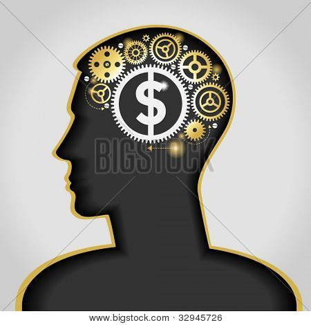 the idea to earn money. the silhouette of a human head with a lamp and a dollar. File is saved in AI10 EPS version. This illustration contains a transparency