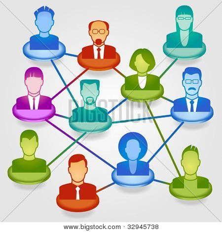 Vector illustration of modern business people in a social network. File is saved in AI10 EPS version. This illustration contains a transparency