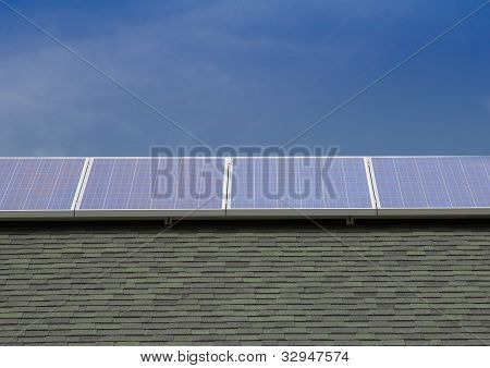Photovoltaic Solar Panels Mounted on Roof
