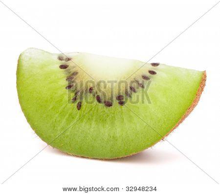 One kiwi fruit sliced segment isolated on white background cutout