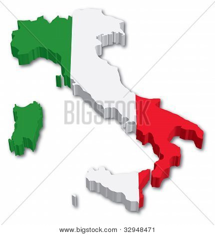 3D Italy map with flag
