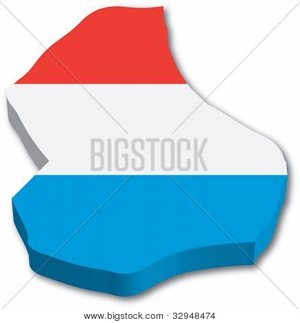 3D Luxembourg map with flag