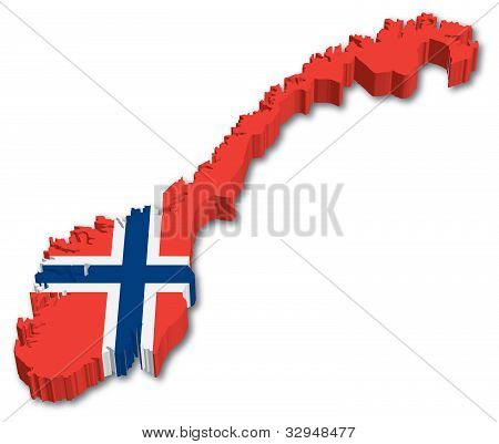 3D Norway map with flag